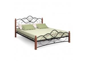 Двуспальная кровать Милая чёрная/махагон