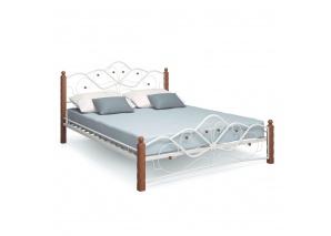 Двуспальная кровать Милая белая/махагон