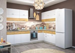 Кухня Адель белая/дуб