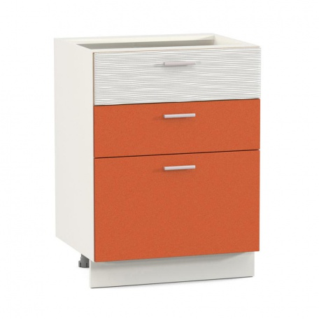 Стол 600 Жанна оранжевая с 3-мя ящиками
