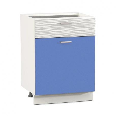 Стол 600 Жанна голубая с ящиком и дверью