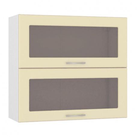 Шкаф горизонтальный 800 Сандра ваниль (2 витрины)
